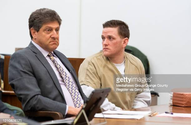 Josh Waring looks back at family members during a hearing in superior court in Santa Ana, CA on Friday, March 6, 2020. Waring, the son of...