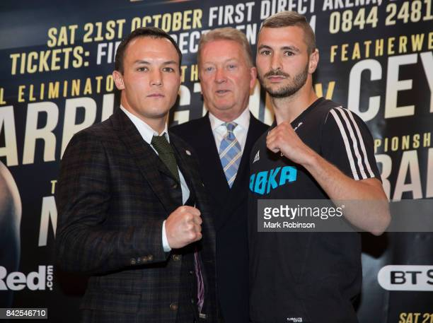 Josh Warrington and Dennis Ceylan pose for a head to head photo at a press conference with promoter Frank Warren for their final eliminator fight for...