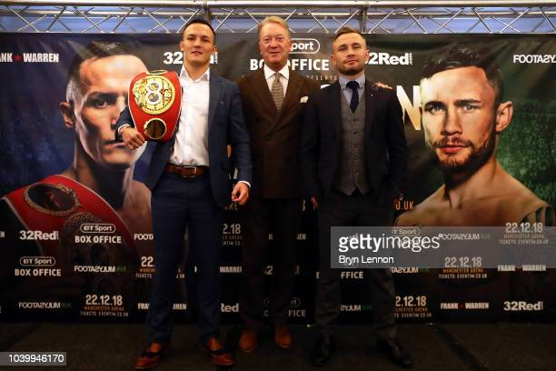 Josh Warrington attends a press conference during the Josh Warrington and Carl Frampton Media Tour on September 25 2018 in London England