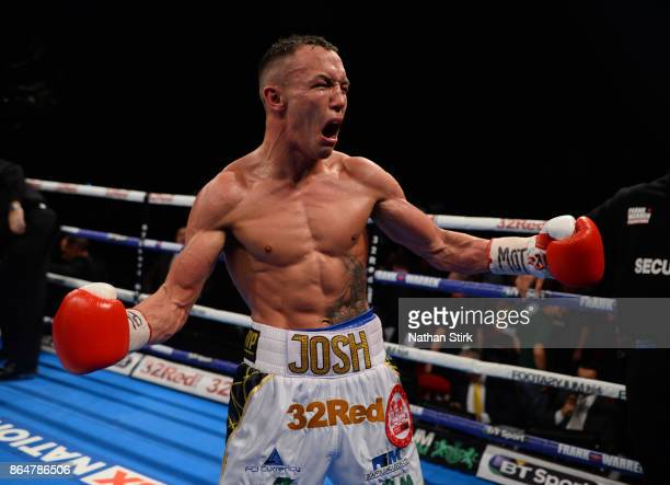 Josh Warrington celebrates after beating Dennis Ceylan during the IBF Featherweight World title fight at First Direct Arena Leeds on October 21 2017...