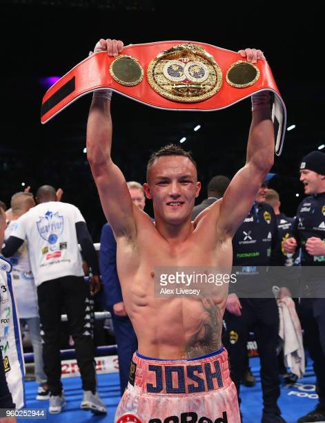 Josh Warrington celebrates victory over Lee Selby in the IBF Featherweight Championship fight at Elland Road on May 19 2018 in Leeds England