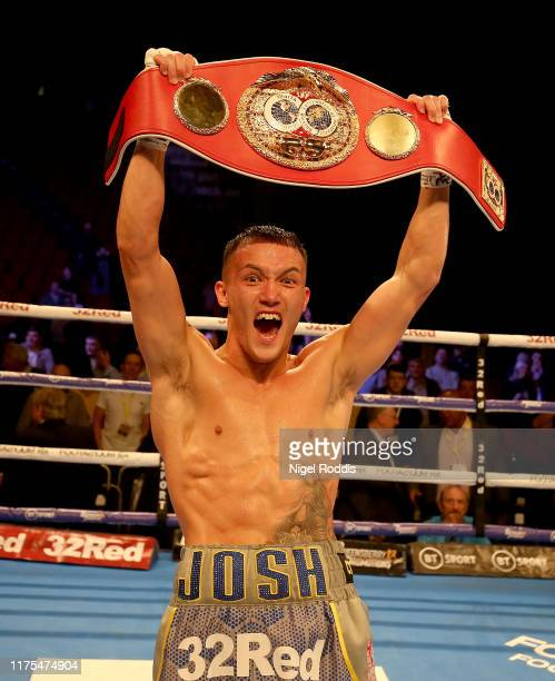 Josh Warrington celebrates winning the IBF world featherweight Title Fight between Josh Warrington and Sofiane Takoucht at the First Direct Arena on...