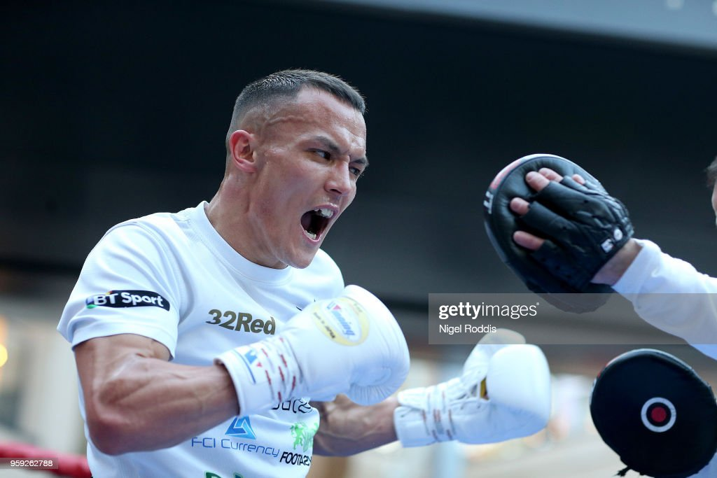 Josh Warrington (L) during a public workout in the Trinity Centre on May 16, 2018 in Leeds, England. Warrington will fight IBF World champion Lee Selby for the title on saturday at Elland road Stadium in Leeds