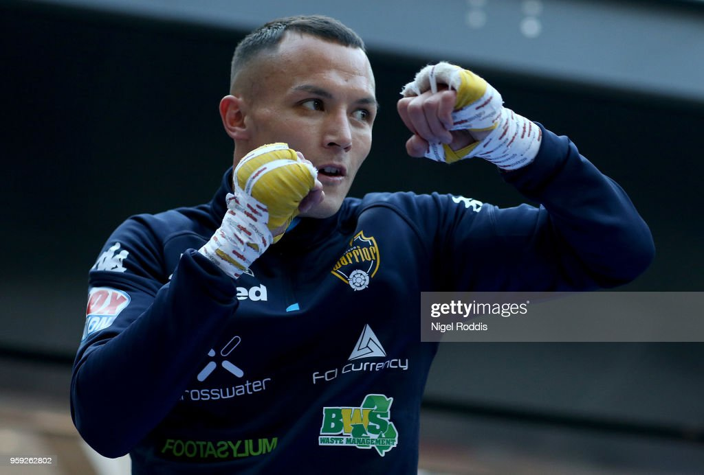 Josh Warrington during a public workout in the Trinity Centre on May 16, 2018 in Leeds, England. Warrington will fight IBF World champion Lee Selby for the title on saturday at Elland road Stadium in Leeds