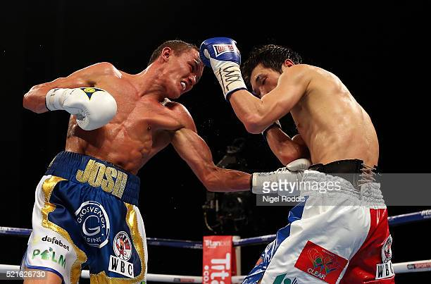 Josh Warrington in action against Hisashi Amagasa during their WBC International Featherweight title fight at First Direct Arena on April 16 2016 in...