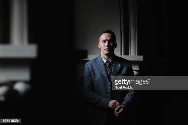 Josh Warrington poses for photographs during a Press Conference at the Aspire hotel on March 15 2017 in Leeds England Josh Warrington will fight Kiko...