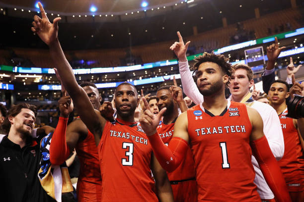 Josh Webster and Brandone Francis of the Texas Tech Red Raiders celebrate defeating the Purdue Boilermakers 7865 in the 2018 NCAA Men's Basketball...
