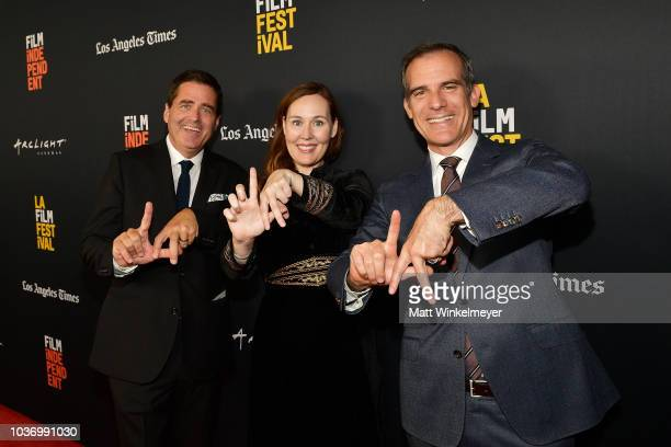 Josh Welsh Jennifer Cochis and Mayor of Los Angeles Eric Garcetti attend sthe 2018 LA Film Festival opening night premiere of Echo In The Canyon at...