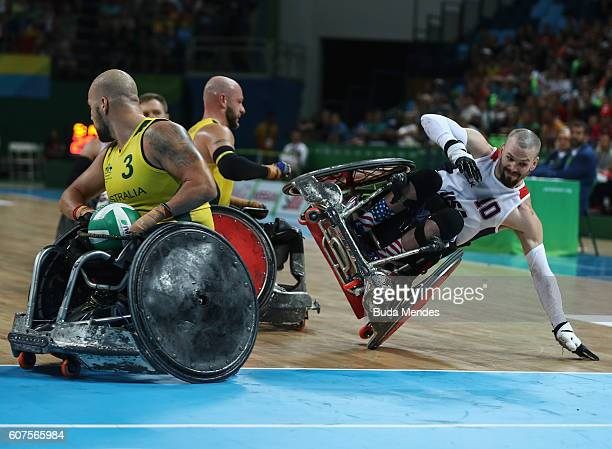 Josh Wheeler of the United States in action during the Men's Wheelchair Rugby Gold Medal match between Australia and United States on day 11 of the...
