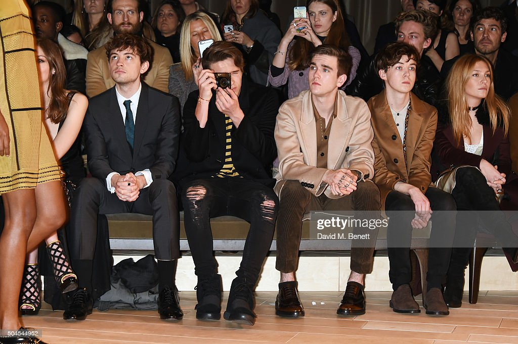 Josh Whitehouse, Brooklyn Beckham, Gabriel Day-Lewis, Alex Lawther and Josephine de La Baume attend the Burberry Menswear January 2016 Show on January 11, 2016 in London, United Kingdom.