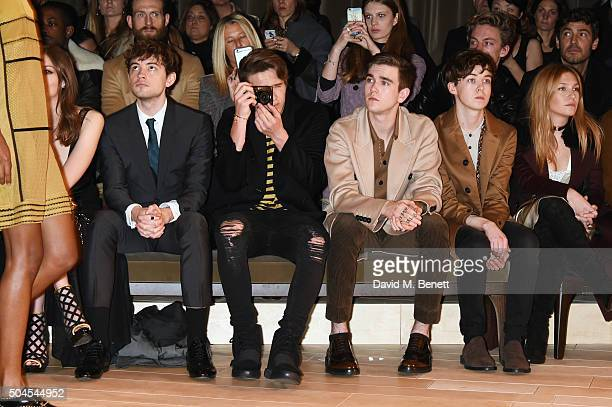 Josh Whitehouse Brooklyn Beckham Gabriel DayLewis Alex Lawther and Josephine de La Baume attend the Burberry Menswear January 2016 Show on January 11...
