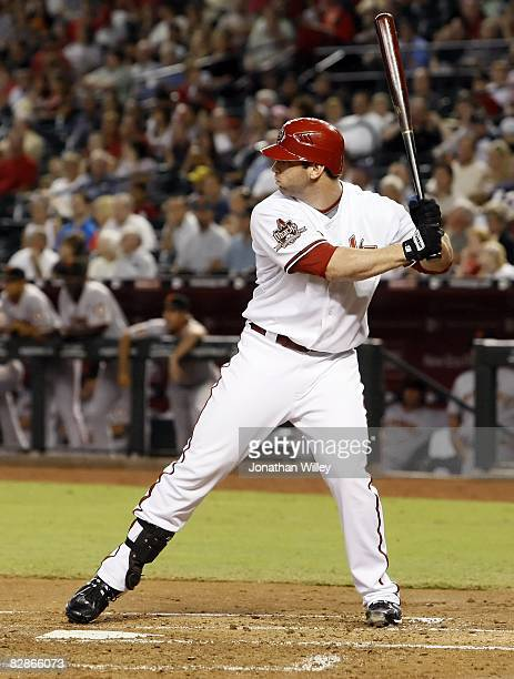 Josh Whitesell of the Arizona Diamondbacks hits during the game against the San Francisco Giants at Chase Field in Phoenix Arizona on September 15...