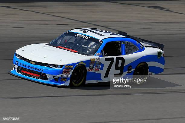 Josh Williams driver of the DB Sales Chevrolet drive during practice for the NASCAR XFINITY Series Menards 250 at Michigan International Speedway on...