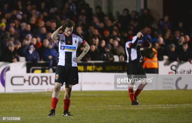 Josh Wilson of Chorley looks in disbelief after they concede during The Emirates FA Cup First Round match between Chorley and Fleetwood Town at...