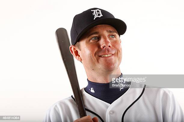 Josh Wilson of the Detroit Tigers poses for a photo during the Tigers' photo day on February 28 2015 at Joker Marchant Stadium in Lakeland Florida