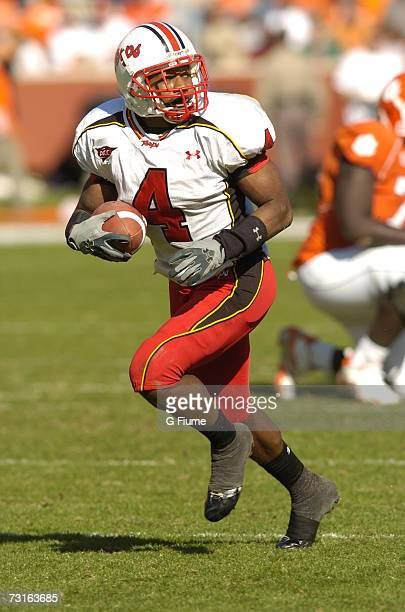 Josh Wilson of the Maryland Terrapins returns a punt against the Clemson Tigers November 4 2006 at Memorial Stadiumn in Clemson South Carolina