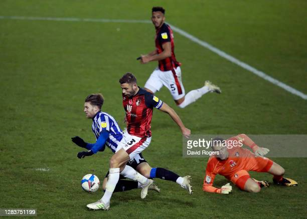 Josh Windadd of Sheffield Wednesday is fouled by Steve Cook of AFC Bournemouth leading to a penalty and a red card during the Sky Bet Championship...