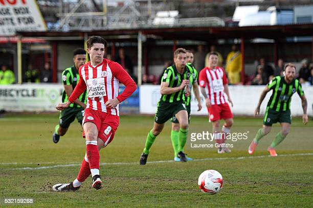 Josh Windass of Accrington Stanley scores the opening goal from the penalty spot during the Sky Bet League Two play off Second Leg match between...