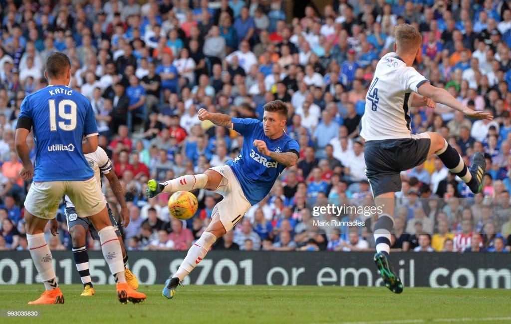 Josh Windass of Rangers has a shot on goalduring the Pre-Seaso n Friendly between Rangers and Bury at Ibrox Stadium on July 6, 2018 in Glasgow, Scotland.