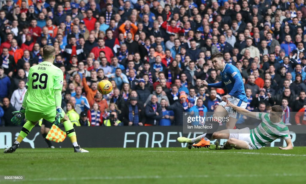 Josh Windass of Rangers scores his sides first goal during the Ladbrokes Scottish Premiership match between Rangers and Celtic at Ibrox Stadium on March 11, 2018 in Glasgow, Scotland.