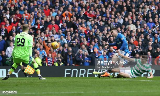 Josh Windass of Rangers scores his sides first goal during the Ladbrokes Scottish Premiership match between Rangers and Celtic at Ibrox Stadium on...