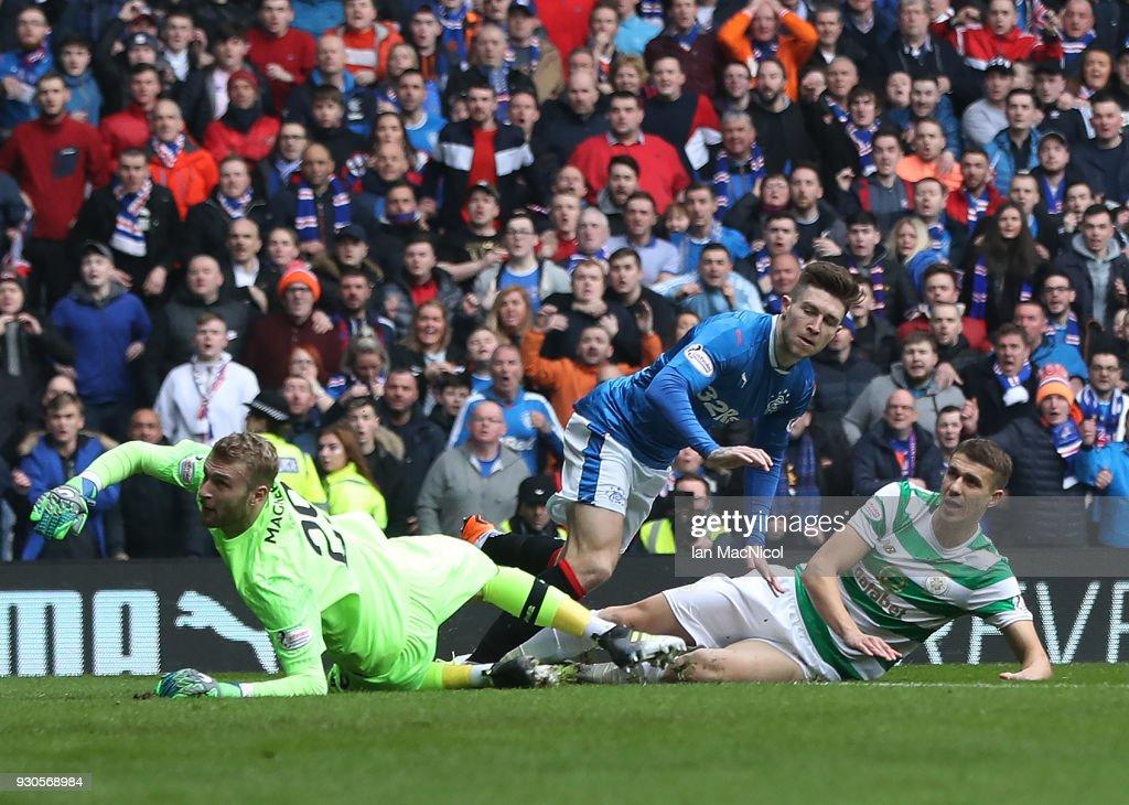 Josh Windass of Rangers scores the opening goal during the Rangers v Celtic Ladbrokes Scottish Premiership match at Ibrox Stadium on March 11, 2018 in Glasgow, Scotland.