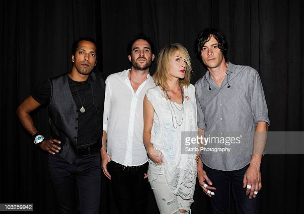 Josh Winstead James Shaw Emily Haines and Joules ScottKey of Metric backstage at a Celebrate Brooklyn concert at the Prospect Park Bandshell on...