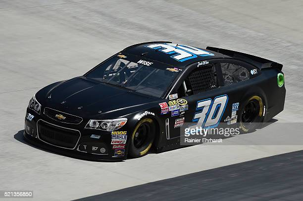 Josh Wise driver of the Curtis Key Plumbing Chevrolet practices for the NASCAR Sprint Cup Series Food City 500 at Bristol Motor Speedway on April 14...