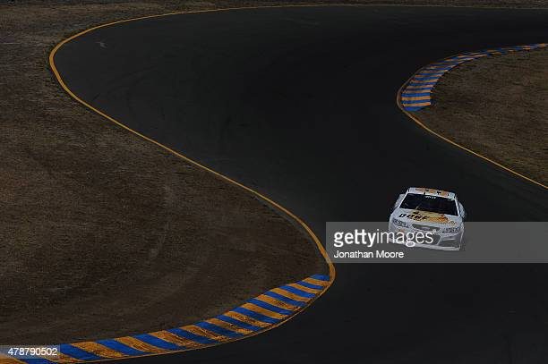 Josh Wise driver of the Dogecoin Chevrolet qualifies for the NASCAR Sprint Cup Series Toyota/Save Mart 350 at Sonoma Raceway on June 27 2015 in...