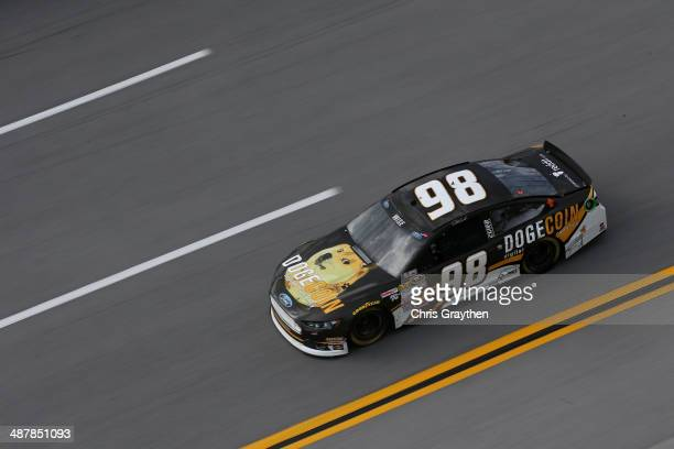 Josh Wise driver of the Dogecoin / Redditcom Ford on track during practice for the NASCAR Sprint Cup Series Aaron's 499 at Talladega Superspeedway on...
