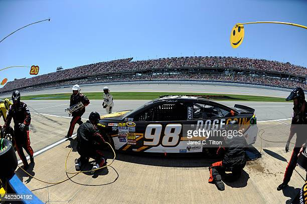 Josh Wise driver of the DogecoinRedditcom Chevrolet pits during the NASCAR Sprint Cup Series Aaron's 499 at Talladega Superspeedway on May 4 2014 in...