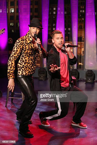 Josh Wolf and Lance Bass attend The Josh Wolf Show on July 15 2015 in Los Angeles California