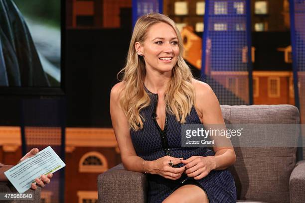 """Josh Wolf hosts singer-songwriter Jewel on """"The Josh Wolf Show"""" June 24, 2015 in Los Angeles, California. The show airs June 25 on CMT."""