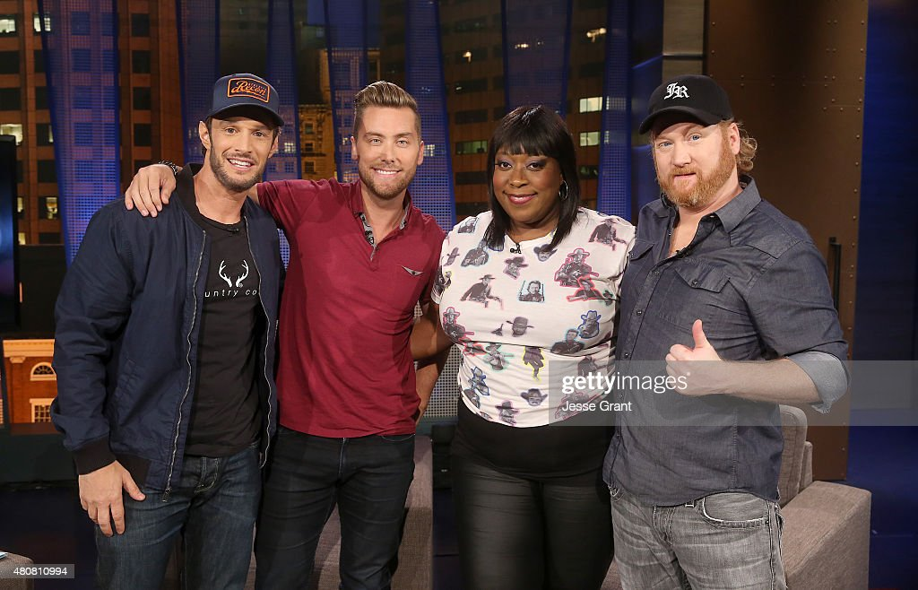 Josh Wolf, Lance Bass, Loni Love and Jon Reep attend 'The Josh Wolf Show' on July 15, 2015 in Los Angeles, California.