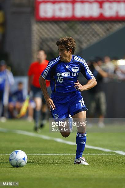 Josh Wolff of the Kansas City Wizards drives upfield against the Chicago Fire during the game at Community America Ballpark on October 5 2008 in...