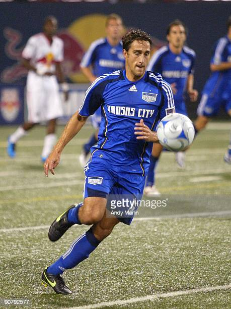 Josh Wolff of the Kansas City Wizards plays the ball against the New York Red Bulls during their game at Giants Stadium on September 12 2009 in East...