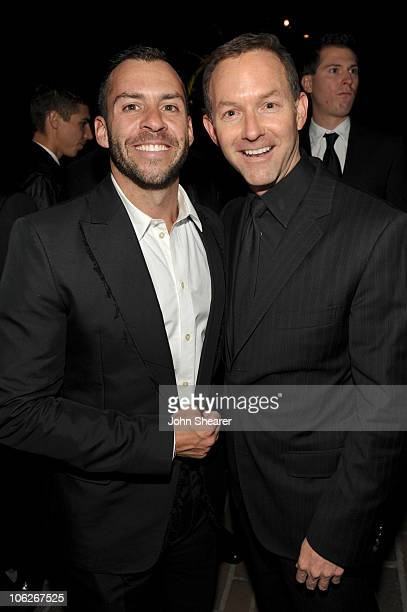 Josh Wood and producer Dan Jinks attend the amfAR Inspiration Gala celebrating men's style with Piaget and DSquared 2 at Chateau Marmont on October...