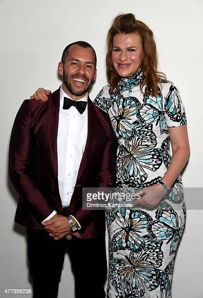 Josh Wood and Sandra Bernhard attend the 2015 amfAR Inspiration Gala New York at Spring Studios on June 16 2015 in New York City