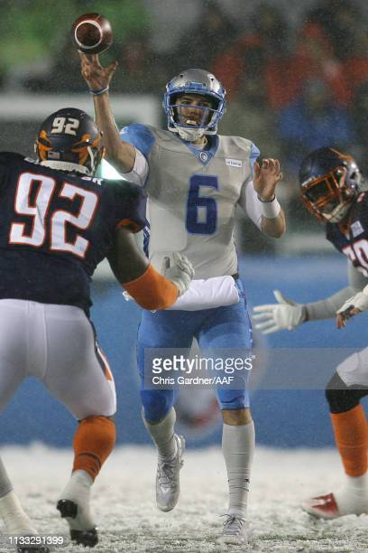 Josh Woodrum of Salt Lake Stallions attempts a pass against the Orlando Apollos during their Alliance of American Football game at Rice Eccles...