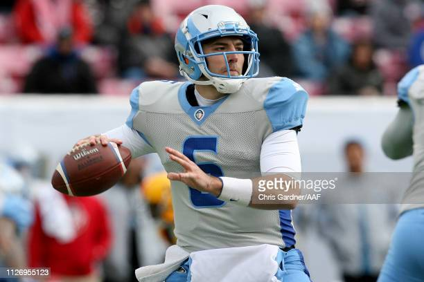 Josh Woodrum of Salt Lake Stallions looks to pass against the Arizona Hotshots during their Alliance of American Football game at Rice Eccles Stadium...