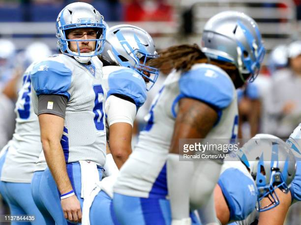 Josh Woodrum of Salt Lake Stallions prepares to start playing in the Alliance of American Football game against the at Alamodome on March 23 2019 in...