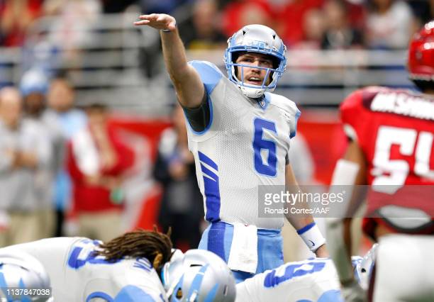 Josh Woodrum of Salt Lake Stallions signals to his team while playing in the first quarter of the Alliance of American Football game against the San...