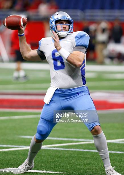 Josh Woodrum of Salt Lake Stallions warms up before the Alliance of American Football game between the Salt Lake Stallions and the San Antonio...