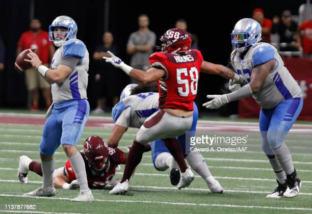 Josh Woodrum of the Salt Lake Stallions looks to pass against the San Antonio Commanders at Alamodome on March 23 2019 in San Antonio Texas