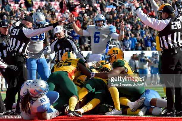 Josh Woodrum of the Salt Lake Stallions reacts after a touchdown against the Arizona Hotshots during their Alliance of American Football game at Rice...