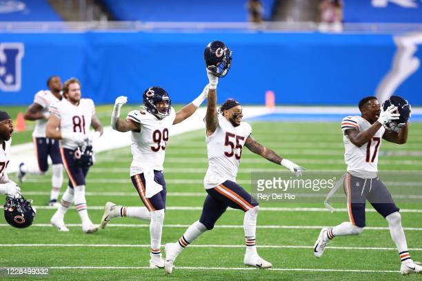Josh Woods Trevis Gipson and Anthony Miller of the Chicago Bears celebrates a 27 23 win over the Detroit Lions at Ford Field on September 13 2020 in...
