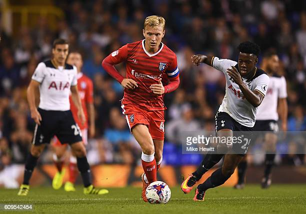 Josh Wright of Gillingham in action during the EFL Cup Third Round match between Tottenham Hotspur and Gillingham at White Hart Lane on September 21...