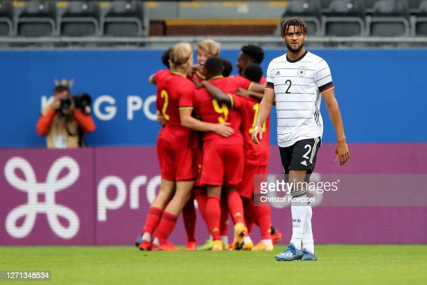 Josha Vagnoman of Germany looks dejected after the second goal of Belgium during the UEFA Euro Under 21 Qualifier match between Belgium U21 and...