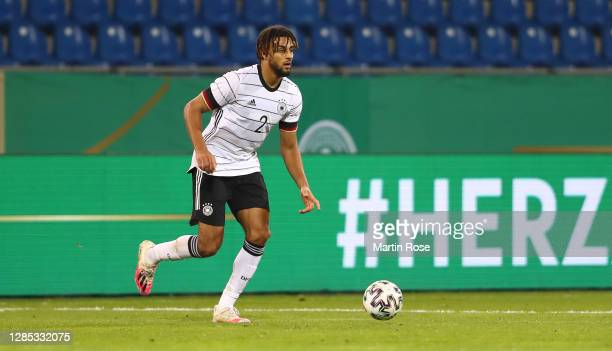 Josha Vagnoman of Germany runs with the ball during the international friendly match between Germany U21 and Slovenia U21 at Eintracht-Stadion on...