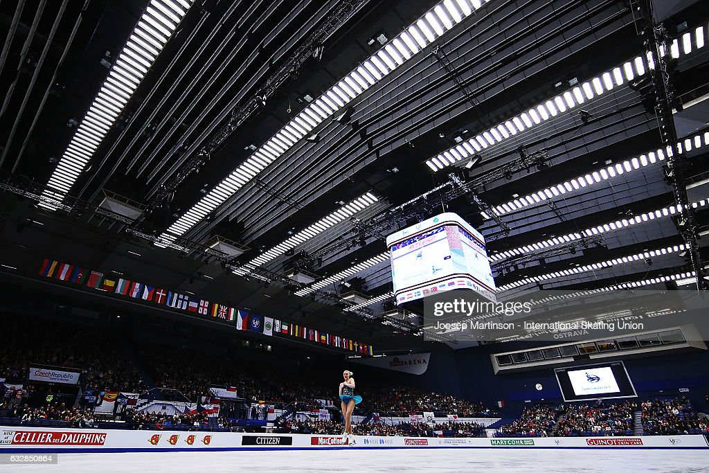 Joshi Helgesson of Sweden competes in the Ladies Free Skating during day 3 of the European Figure Skating Championships at Ostravar Arena on January 27, 2017 in Ostrava, Czech Republic.